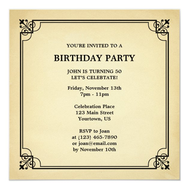 Vintage Aged To Perfection Funny Birthday Invite Zazzle