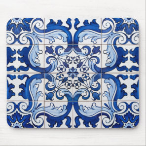 Vintage Azulejo Tile Pattern Mouse Mat