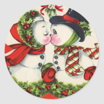 Vintage Christmas Kiss Classic Round Sticker