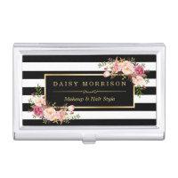 Vintage Floral B&W Stripes Beauty Salon Gold Frame Business Card Holder