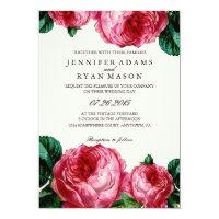 VINTAGE FLORAL DECOUPAGE WEDDING INVITATION