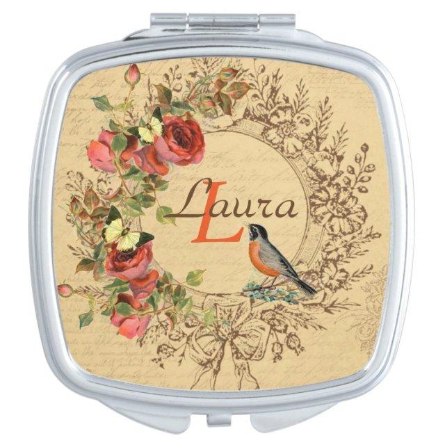 Vintage Floral Compact Mirror
