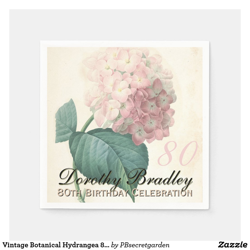 Vintage Hydrangea 80th Birthday Party Paper Napkin