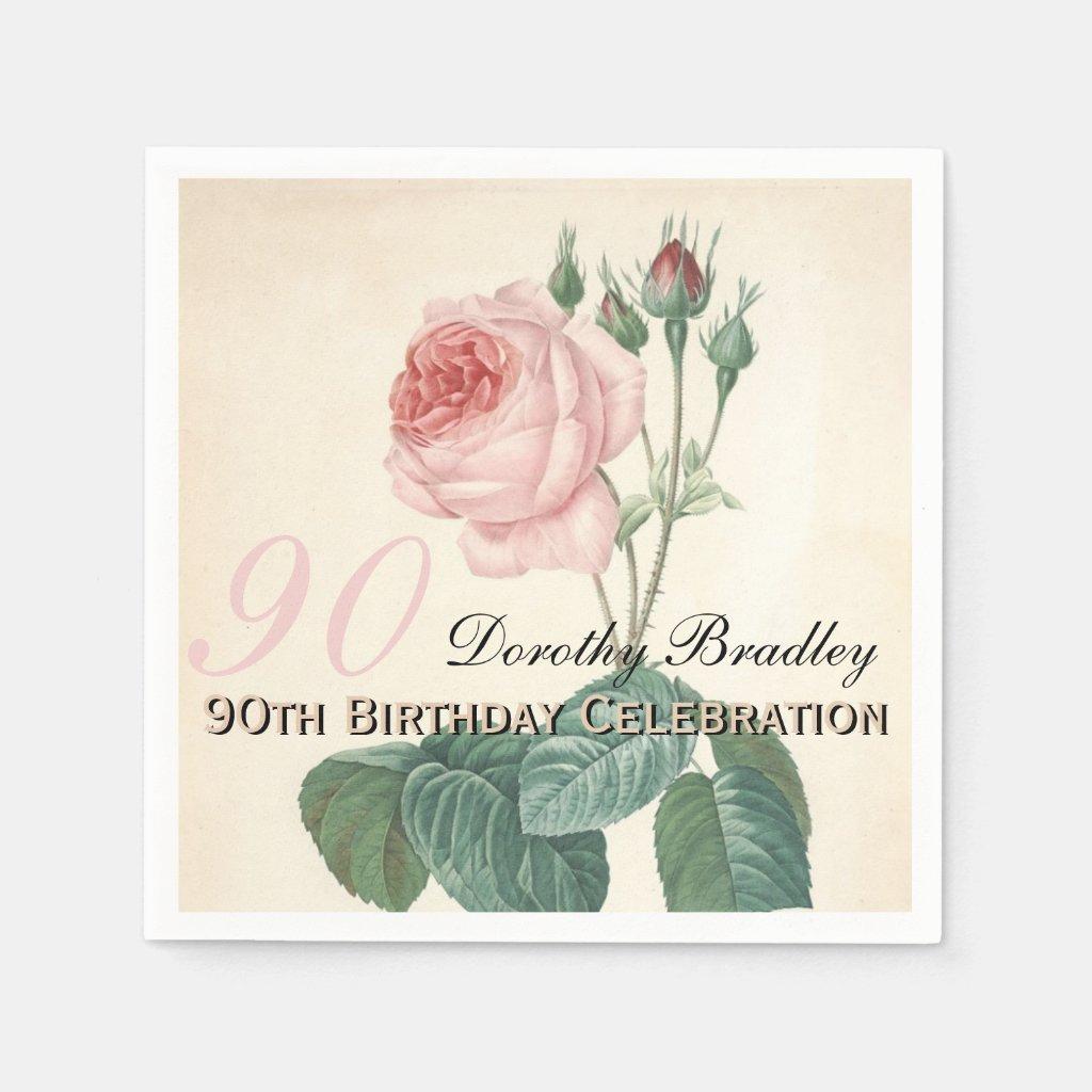 Vintage Rose 90th Birthday Party Paper Napkins Disposable Serviette