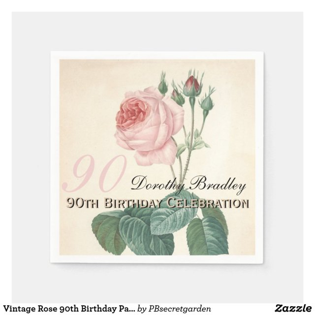 Vintage Rose 90th Birthday Party Paper Napkins Disposable Serviette