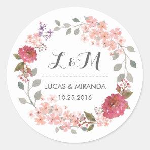 Vintage Rustic Floral Wreath Wedding Favour Classic Round Sticker