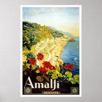 Vintage travel,Amalfi Poster