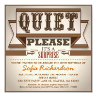 vintage typographic surprise birthday party invite