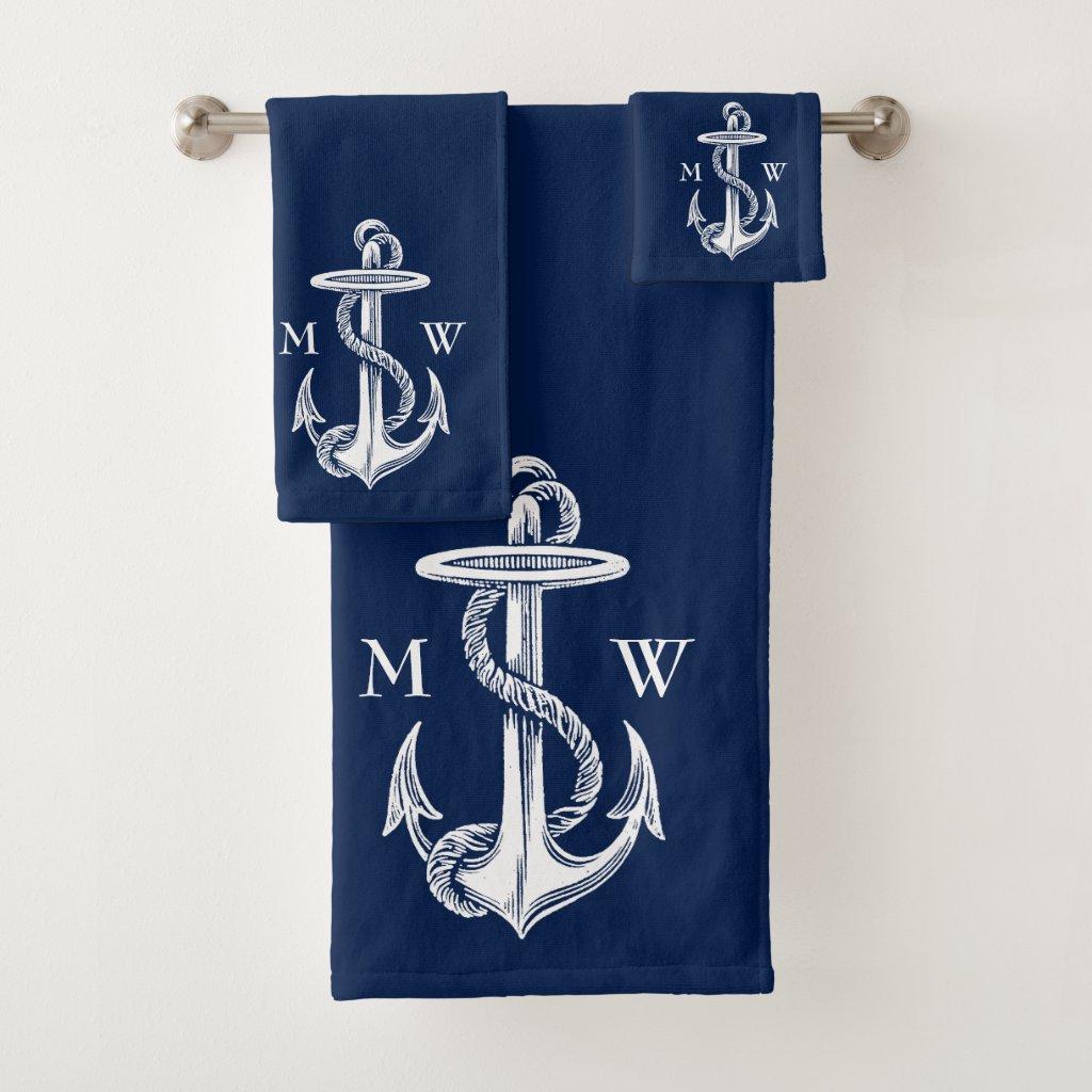 Vintage White Anchor Rope Navy Blue Monogram Bath Towel Set