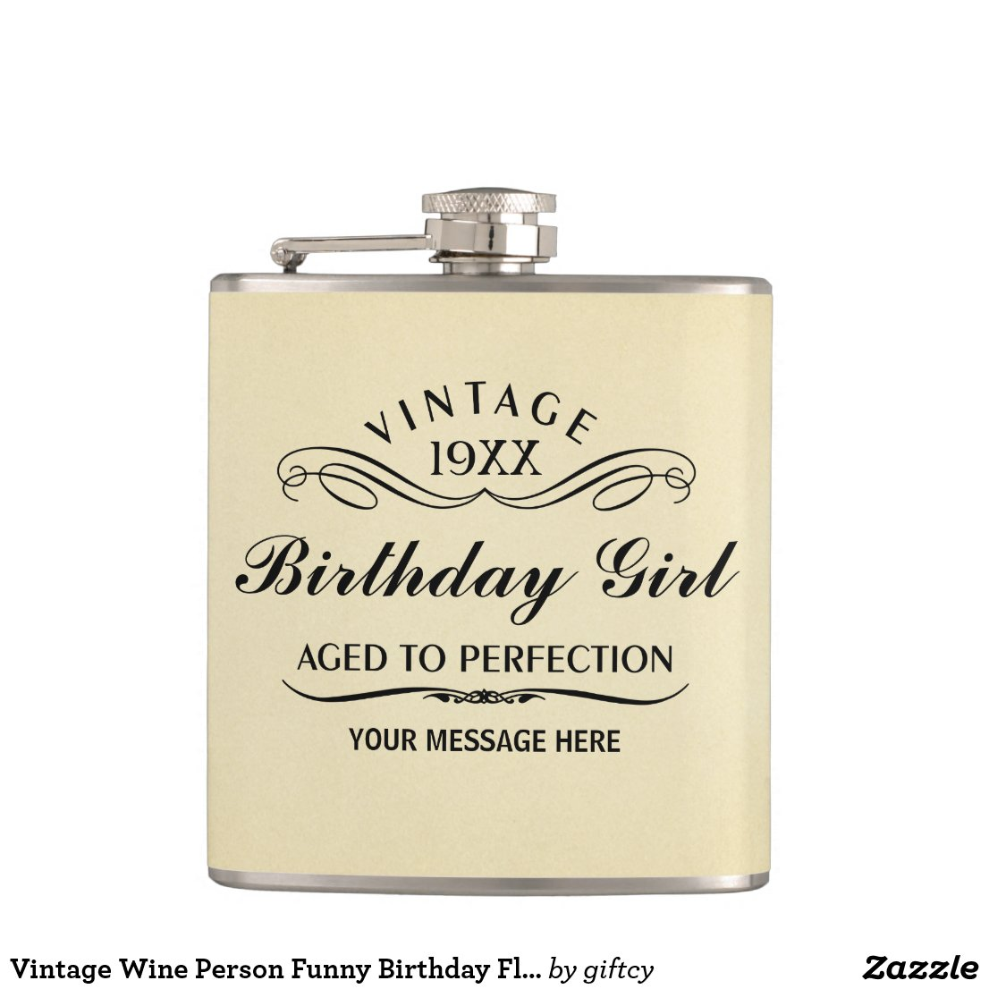 Vintage Wine Person Funny Birthday Flask