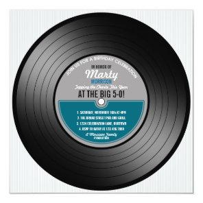Vinyl Record 50th Birthday Party Invitation