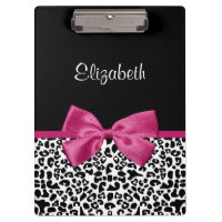 Vivacious Dark Pink Ribbon Leopard Print With Name Clipboard