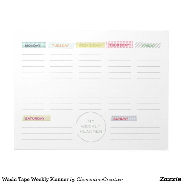 Washi Tape Weekly Planner Notepad