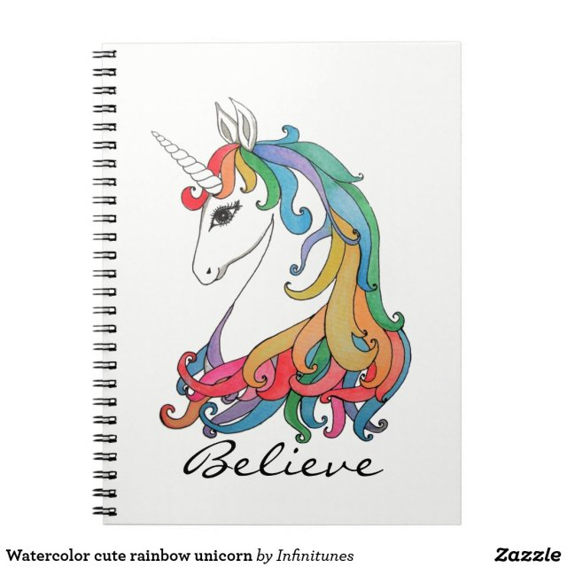 Watercolor cute rainbow unicorn notebook