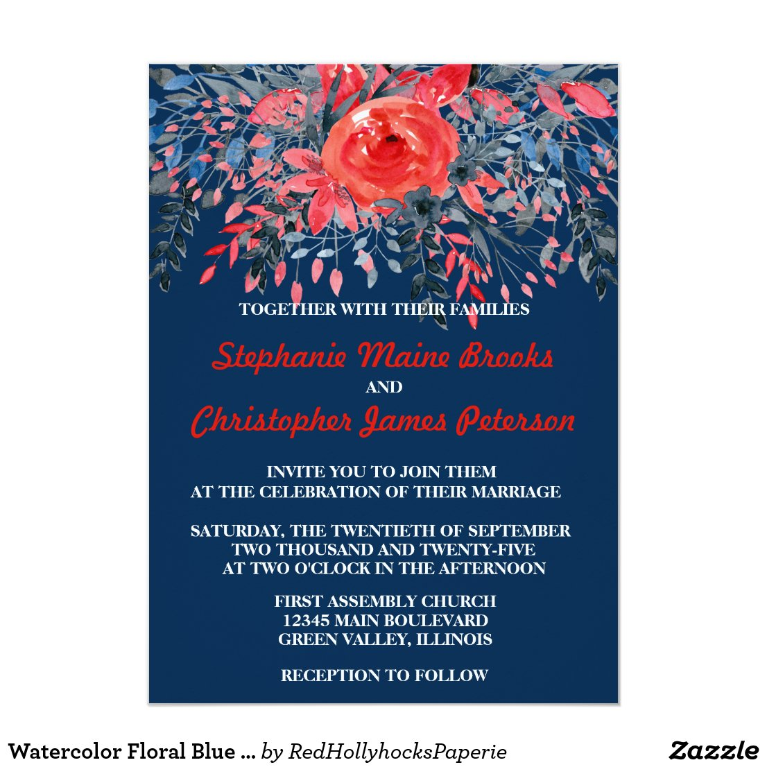 Watercolor Floral Blue Denim and Red Rose Wedding Card