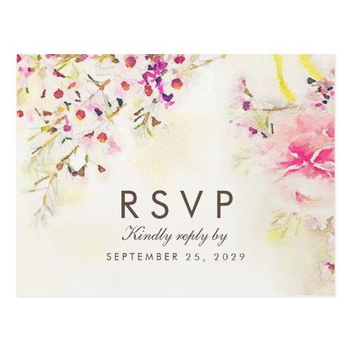 Watercolor Floral Boho Response RSVP Postcard