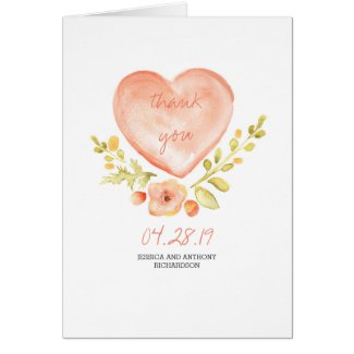 Watercolor Flowers Heart Wedding Thank You Card