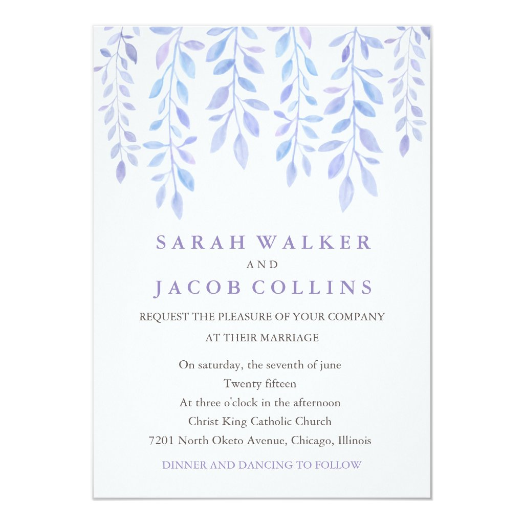 Watercolor Foliage - Lilac Wedding Invitation