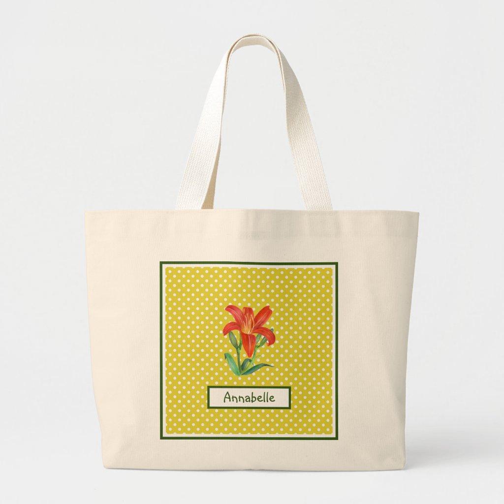 Watercolor Orange Lily Lemon Green Polka Dots Large Tote Bag
