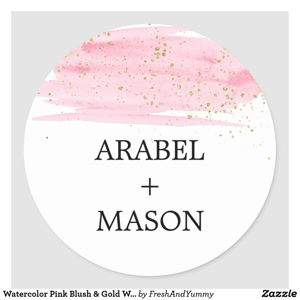 Watercolor Pink Blush & Gold Wedding Envelope Seal