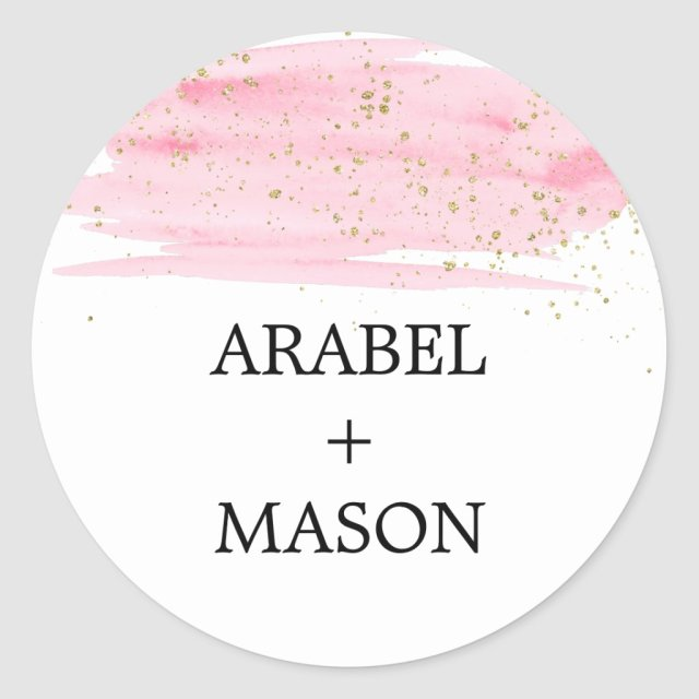 Watercolor Pink Blush & Gold Wedding Envelope Seal