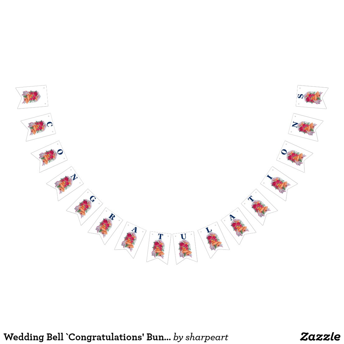 Wedding Bell Congratulations Bunting Banner