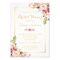 Wedding Bridal Shower Chic Floral Invitation Card