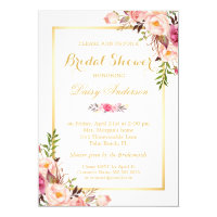 Wedding Bridal Shower Chic Floral Invitation Card