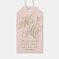 Wedding Favor Tag   Blush Gold Monogram