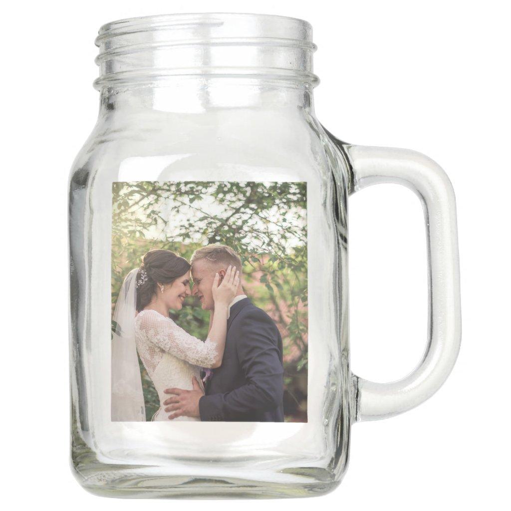 Wedding Photo Pink Roses Couples Mason Jar