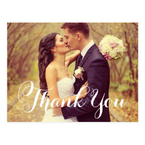 Wedding Photo Thank You | White Elegant Script Postcard