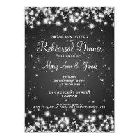 Wedding Rehearsal Dinner Winter Sparkle Black 5x7 Paper Invitation Card