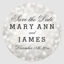 Wedding Save The Date Silver Glitter Lights Classic Round Sticker