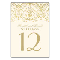 Wedding Table Number | Ivory and Gold Colored Card