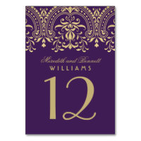 Wedding Table Number | Purple Gold Vintage Glamour Card