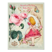 Whimsical Alice in Wonderland Collage Baby Shower Card