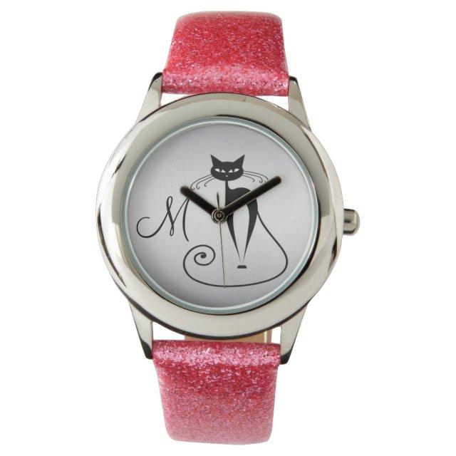 Whimsical Funny black cat elegant monogram Watch