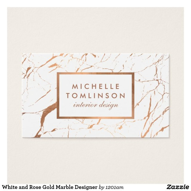 White and Rose Gold Marble Designer