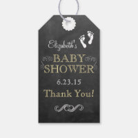 White and Yellow Chalkboard Look Baby Shower Gift Tags