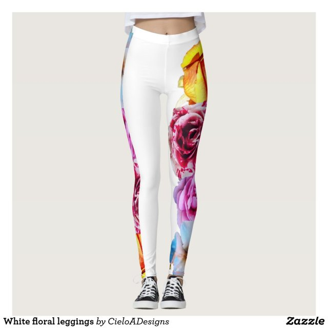 White floral leggings