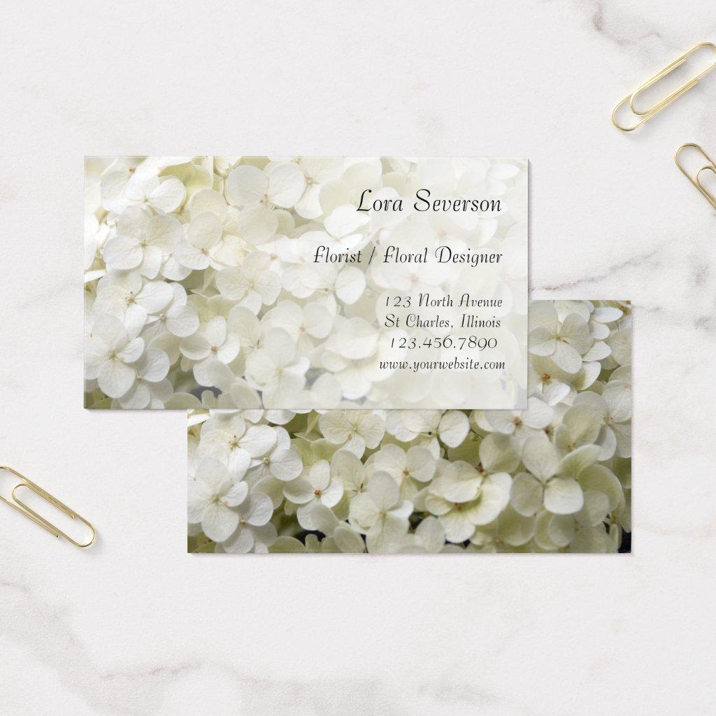 White Hydrangea Florist Business Cards