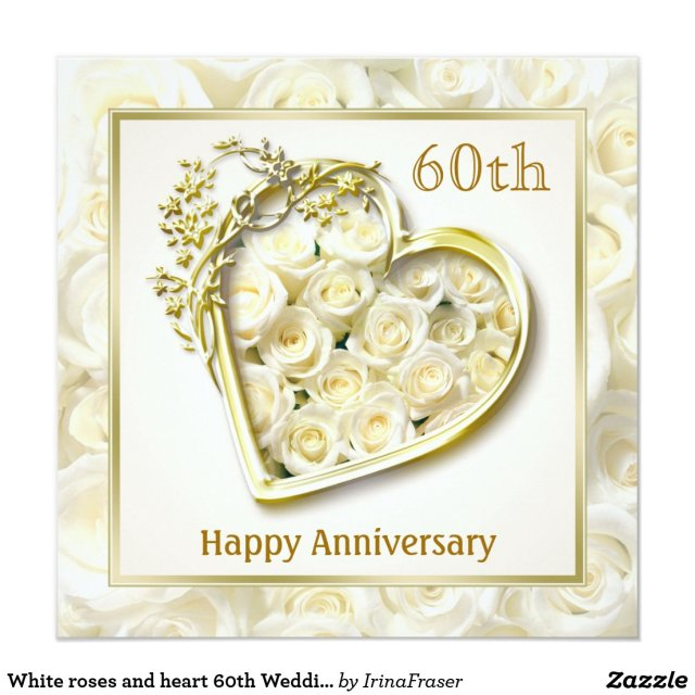 White roses and heart 60th Wedding Anniversary Card