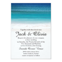 White Sand Ocean Beach Wedding Invitation
