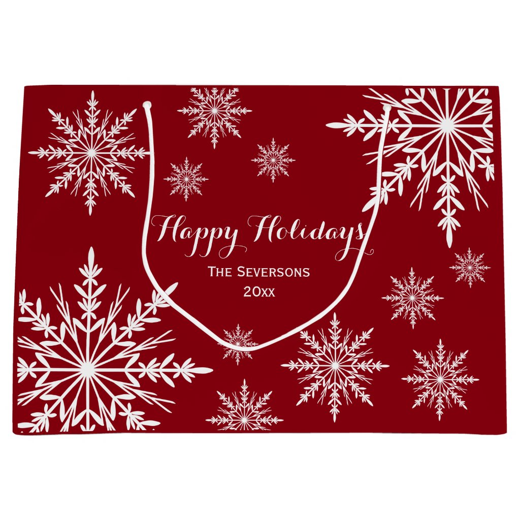 White Winter Snowflakes on Red Happy Holidays