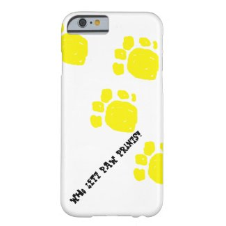 Who left paw prints! black text yellow prints