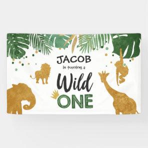 Wild one birthday banner Safari Jungle Animals