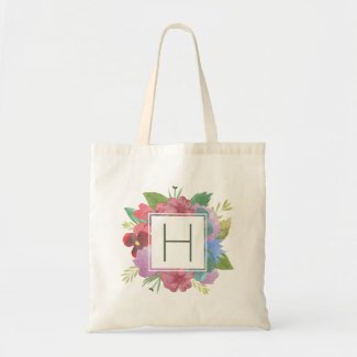 Wildflower Bouquet Monogram Tote Bag