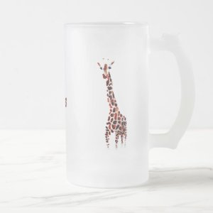 Wildlife Art Giraffes Custom Name Frosted Glass Beer Mug