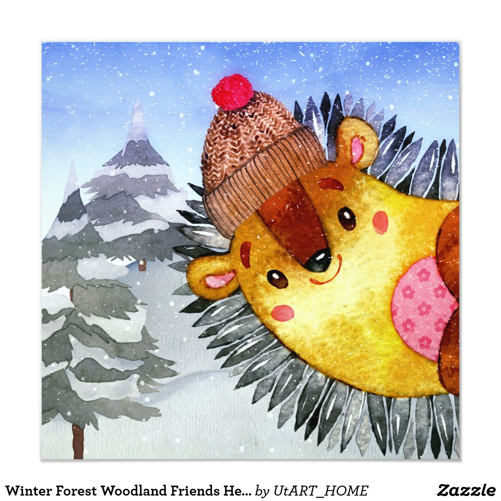 Winter Forest Woodland Friends Hedgehog Drawing