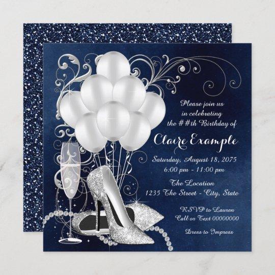 womans royal blue silver elegant birthday party invitation